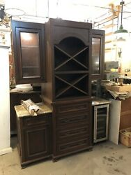 Custom Made Circa 2000 Sommalier Dry Wine Bar Built In Cabinetry System