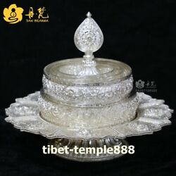 Tibet pure silver eight treasures Buddhist offerings Mandala Manza salver