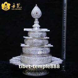 Tibetan pure silver eight treasures Buddhist offerings Mandala Manza salver