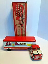 1950s Vintage Louis Marx Truck W/box Large Gold Star Semi Truck And Trailer Steel