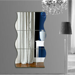 6PCS 3D Mirror Wall Sticker Waves Shape Self adhesive Home Bedroom Decal Decor