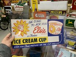 Vintage Borden's Elsie Ice Cream Cup Paper Litho Advertising Sign Gas Oil Cola