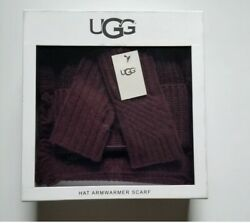 Ugg Authentic Classic Hat Arm warmer and Scarf 3 Pc Gift Set Wool Blend NWT $195