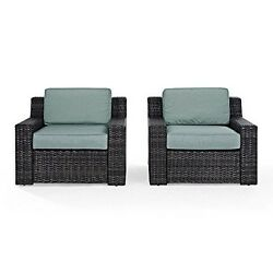 Crosley Ko70100br Beaufort 2 Pc Outdoor Wicker Seating Set With Mist Cushion New