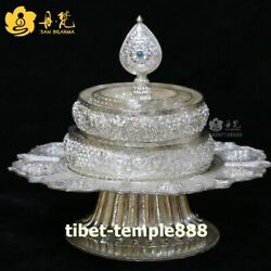 Tibet Buddhism Pure Silver eight treasures Mandala dkyil-vkhor salver plate tray
