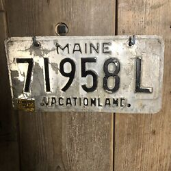 Vintage American Number Plate Maine 71958l Vacation Land Man Cave Custom Car