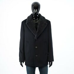 Brioni 4900 Black Virgin Wool And Cashmere Caban Coat With Shearling Collar