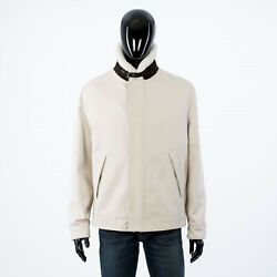 Brioni 4400 White Military Blouson Jacket With Shearling Collar