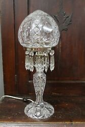 Great Hand Cut Glass Crystal Dome Mushroom Table Lamp Amazing Design Prism
