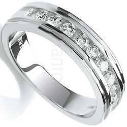 Certificated Diamond Eternity Ring Channel Set 0.50ctw 18k White Gold Size J - Q