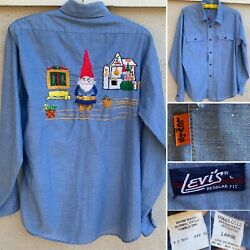 Vintage Levi's Chambray Shirt Embroidered Gnome Gnomes Western Work Orange Tab L
