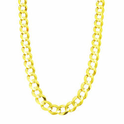 Authentic 14k Yellow Gold Solid Menand039s 10mm Cuban Curb Chain Link Necklace- 26