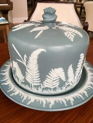 Antique Vintage English Ironstone Cheese Dome And Plate Vertical Ferns By Dudson