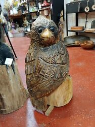 Natural Cardinal Chainsaw Carving Wood Wildlife Bird Carvings 27 Tall