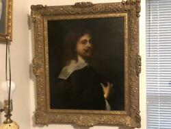Org. 31x26 Belgium oil painting by Anthony Van Dyck self portrait museum piece
