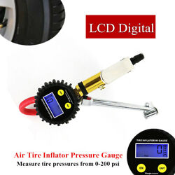 Lcd Digital Car Auto Air Tire Tyre Inflator Accurate Pressure Gauge W/dual Chuck