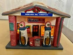 Coca-cola 1992 Town Square Howard Oil Gas Station Christmas Village Lighted