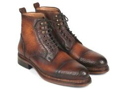 Paul Parkman Mens Shoes Boots Brown Antique Burnished Leather Handmade 5075-brw