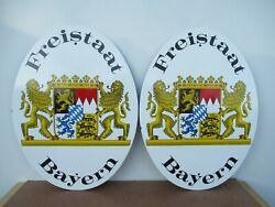 Two 16x12 Vintage Freistaat Bayerm Belgium Beer Porcelain Gas And Oil Adv. Sign