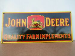8x18 Old New Stock Original John Deere Farm Equip. Porcelain Gas And Oil Adv. Sign
