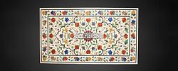 4and039x2and039 White Marble Rectangle Dining Table Top Marquetry Floral Work Inlay Decor