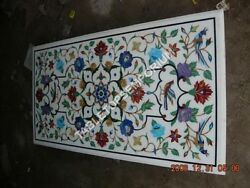4'x2' White Marble Dining Center Table Top Multi Floral Inlay Marquetry Art E357