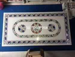 4and039x2and039 White Marble Top Dining Table With Stand Mosaic Inlay Elephant Arts Decor