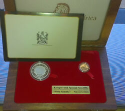South Africa 2006 Commemorative Gold + Silver Set - Otto Shultz In Wooden Box