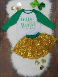 Toddler Girls St. Patrick's Day Outfit Shamrock Cutie Gold Sequin Skirt Set