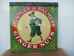19x18 Org. 1930 Antq. Huntley And Palmer Ginger Nuts Porcelain Gas And Oil Adv. Sign