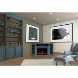 Stratford Electric Fireplace Heater With 56 Blue Corner Tv Stand
