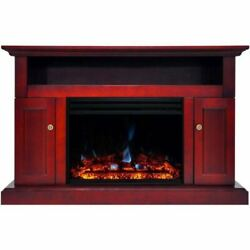 Cambridge Sorrento Electric Fireplace Heater With 47 Cherry Tv Stand