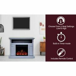 Cambridge Sorrento Electric Fireplace Heater With 47 Blue Tv Stand