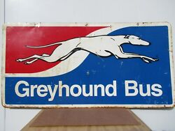 24x48 Org. 1950 Authentic Grayhound Bus With Racing Dog On Painted Metal Sign