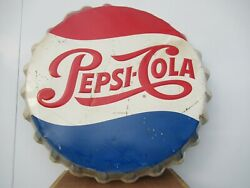39 Org.1950 Larger Drink Pepsi Cola Soda Button Sign Painted On Galinized Metal