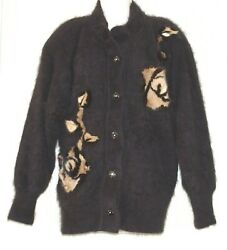Shannan Brown Angora Fur Mink Floral Cardigan Women's Jacket Size:M