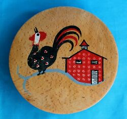 Rooster Chicken Wood Hamburger Press Vintage Hand Painted Hinged Lid Kitchen #10