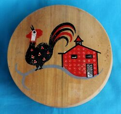 Rooster Chicken Wood Hamburger Press Vintage Hand Painted Hinged Lid Kitchen #8