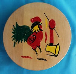 Rooster Chicken Wood Hamburger Press Vintage Hand Painted Hinged Lid Kitchen #2