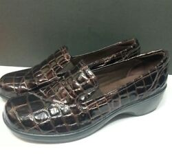 CLARKS BENDABLES Women's Comfort Shoes Croc Brown Slip On Mules Clogs Sz 7