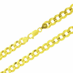 Real 14k Yellow Gold Solid 10mm Wide Mens Curb Cuban Chain Link Necklace 24-30