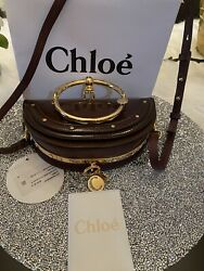 Nwt ChloÉ Nile Bag Glossy Patent Burnt Brown Whith Receipt 1750 Sold Out