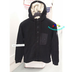 Abercrombie And Fitch Mens Sherpa Lined Full Zip Hoodie Sweatshirts Black Sz M,l
