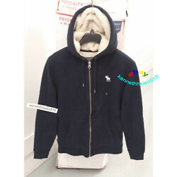 Abercrombie And Fitch Mens Sherpa Lined Full Zip Icon Hoodie Sweatshirts Size M,l