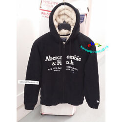 Abercrombie And Fitch Mens Sherpa Lined Logo Hoodie Sweatshirts Black Size Medium