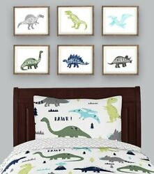 dinosaur wall art decor mod dinosaur for sweet jojo boy nursery art prints $34.00