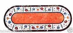 2.5and039x5and039 Marble Dining Table Top Rare Marquetry Orange Stone Inlay Patio Art Deco