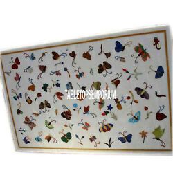 2.5and039x5and039 White Marble Side Dining Table Handicraft Inlay Butterfly Art Home Dandeacutecor