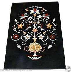 2'x3' Black Marble Dining Marquetry Floral Art Table Top Rare Inlay Mosaic Decor