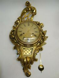 Antique Swedish Gilt Carved Wood Wall Clock With Chimes By Westerstrand